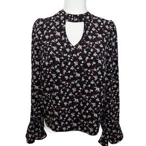 About A Girl Floral Blouse Black Medium